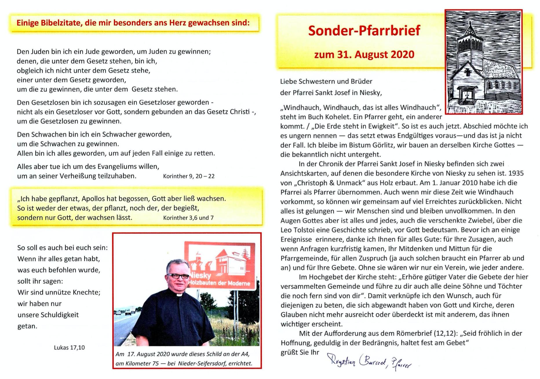 Sonderpfarrbrief Pfarrer Burczek